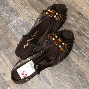Nina rhinestone brown dressy shoes, size 8.5